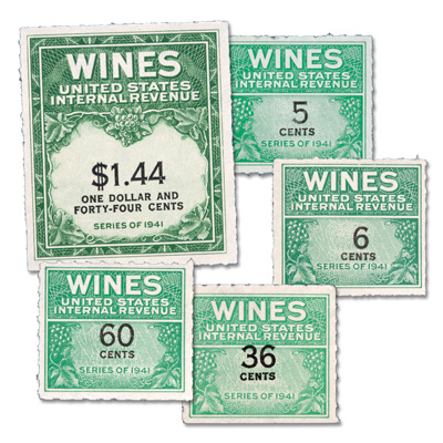 Image for Wine Revenue Stamp Set from Littleton Coin Company