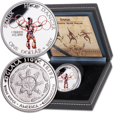 Image for 2017 Sioux Hoop Dancer Silver Dollar in Display Case from Littleton Coin Company