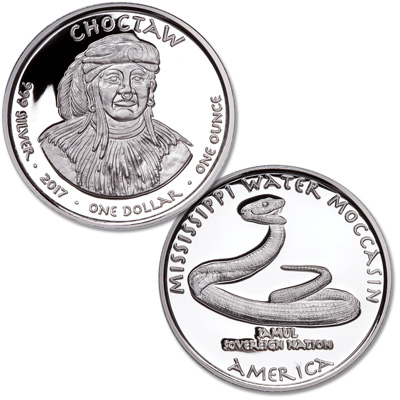 Image for 2017 Jamul Nation Choctaw & Water Moccasin Silver Dollar from Littleton Coin Company