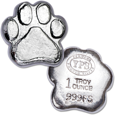Image for 1 oz. Hand-Poured Silver Paw Print from Littleton Coin Company