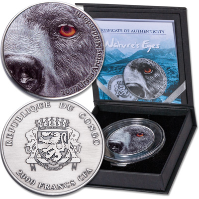 Image for 2017 Republic of the Congo 2 oz. Silver Nature's Eyes Series- Kodiak Brown Bear from Littleton Coin Company