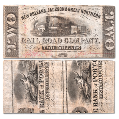 Image for 1861 New Orleans, Jackson and Great Northern Railroad Company $2 Note from Littleton Coin Company