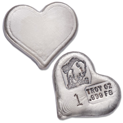 Image for 1 oz. Hand Poured Silver Heart from Littleton Coin Company