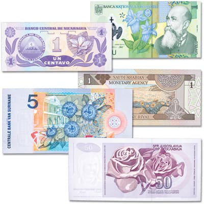 Image for World Notes with Flowers Set from Littleton Coin Company