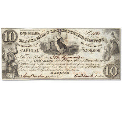 Image for 1830'S Bangor Mill & Manufacturing Company Stock Certificate from Littleton Coin Company