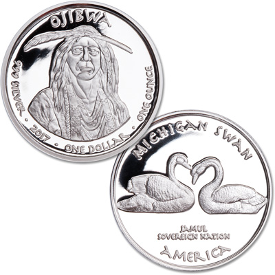 Image for 2017 Jamul Nation Michigan Ojibwa & Swan Silver Dollar from Littleton Coin Company