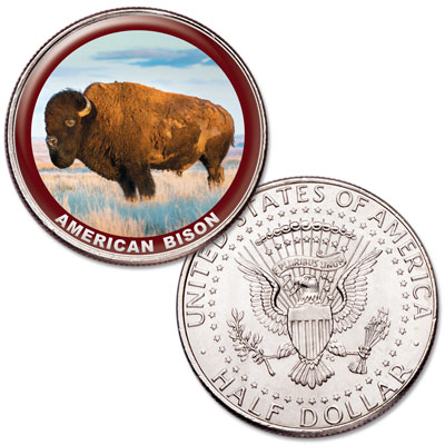 Image for American Bison Colorized Kennedy Half Dollar from Littleton Coin Company