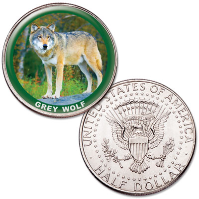 Image for Grey Wolf Colorized Kennedy Half Dollar from Littleton Coin Company
