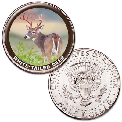 Image for White-tailed Deer Colorized Kennedy Half Dollar from Littleton Coin Company