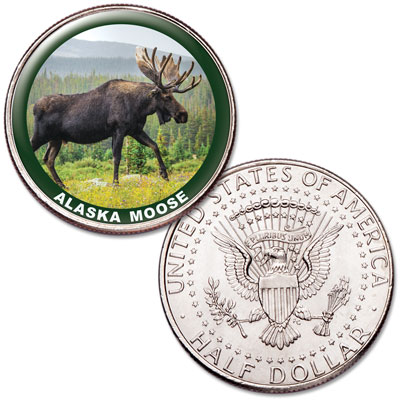 Image for Alaska Moose Colorized Kennedy Half Dollar from Littleton Coin Company