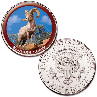 Image for Bighorn Sheep Colorized Kennedy Half Dollar from Littleton Coin Company
