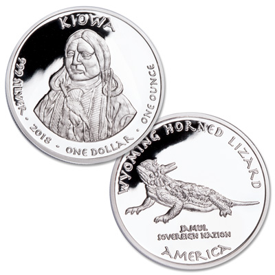 Image for 2018 Jamul Nation Wyoming Kiowa & Lizard Silver Dollar from Littleton Coin Company