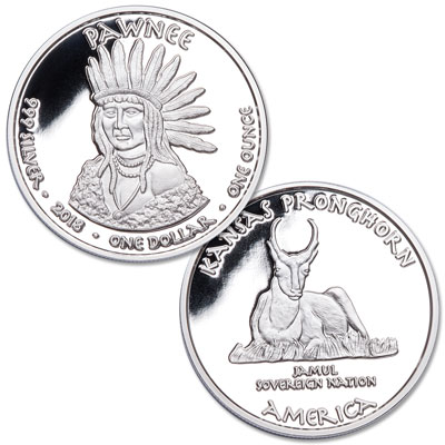 Image for 2018 Jamul Nation Pawnee & Pronghorn Silver Dollar from Littleton Coin Company