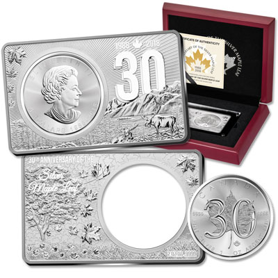 Image for 2018 Silver Maple Leaf in 2 oz. 30th Anniversary Silver Bar from Littleton Coin Company