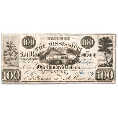 Image for 1839 $100 Natchez, Mississippi Railroad Note from Littleton Coin Company