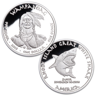 Image for 2018 Jamul Nation Wampanoag & Great White Shark Silver Dollar from Littleton Coin Company