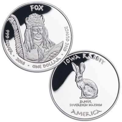 Image for 2018 Jamul Nation Fox Tribe & Rabbit Silver Dollar from Littleton Coin Company