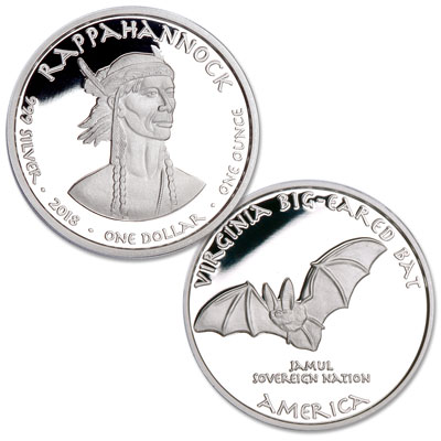 Image for 2018 Jamul Nation Rappahannock & Big-Eared Bat Silver Dollar from Littleton Coin Company