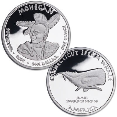 Image for 2018 Jamul Nation Mohegan Tribe & Sperm Whale Silver Dollar from Littleton Coin Company