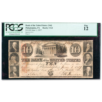 Image for 1836-1839 $10 Bank of the United States (3rd) Note, Philadelphia, PA from Littleton Coin Company