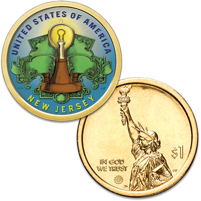 Image for 2019 Colorized New Jersey U.S. Innovation Dollar from Littleton Coin Company