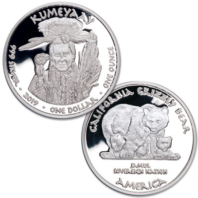 Image for 2019 Jamul Nation Kumeyaay & Grizzly Bear Silver Dollar from Littleton Coin Company