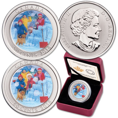 Image for 2018 Canada 50¢ Snowball Fight from Littleton Coin Company