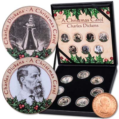 "Image for ""A Christmas Carol"" Colorized Great Britain 1/2 Penny Collection from Littleton Coin Company"