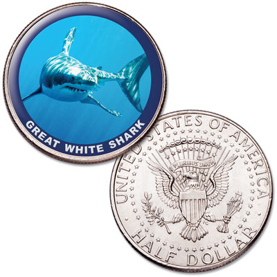 Image for Great White Shark Colorized Kennedy Half Dollar from Littleton Coin Company