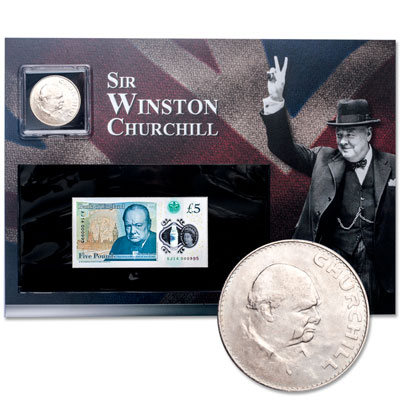 Image for 1965 Winston Churchill Crown & 2015 Polymer Note Set from Littleton Coin Company