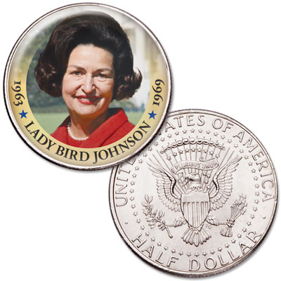 Image for Colorized First Spouses of America Half Dollar - Lady Bird Johnson from Littleton Coin Company
