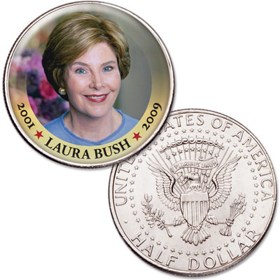 Image for Colorized First Spouses of America Half Dollar - Laura Bush from Littleton Coin Company