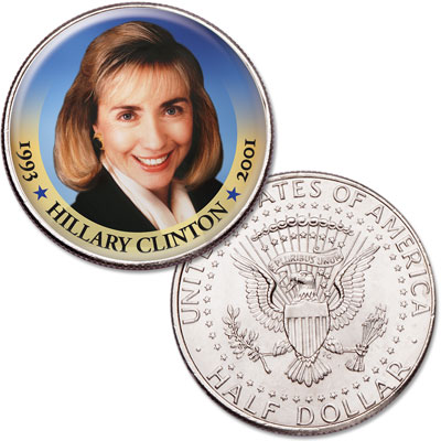 Image for Colorized First Spouses of America Half Dollar - Hillary Clinton from Littleton Coin Company