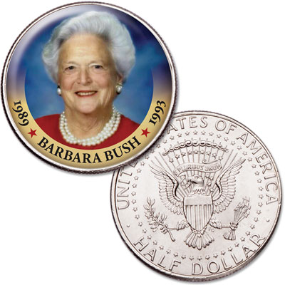 Image for Colorized First Spouses of America Half Dollar - Barbara Bush from Littleton Coin Company