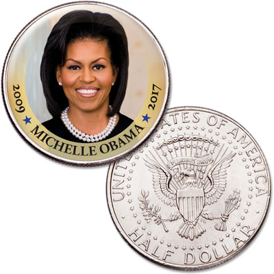 Image for Colorized First Spouses of America Half Dollar - Michelle Obama from Littleton Coin Company