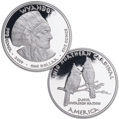 Image for 2019 Jamul Nation Wyandot Tribe & Ohio Northern Cardinals Silver Dollar from Littleton Coin Company