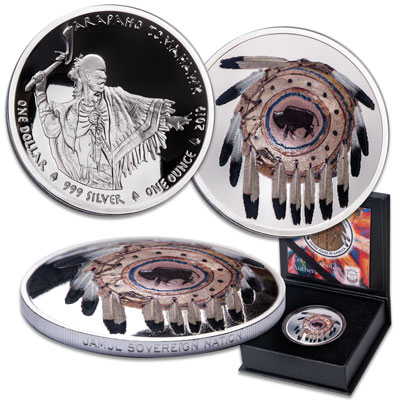 Image for 2019 Jamul Silver $1 Arapahoe Tomahawk & War Shield from Littleton Coin Company