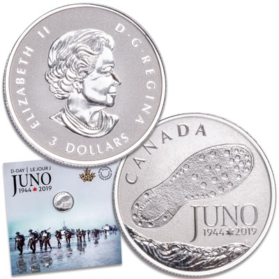 Image for 2019 Canada Silver $3 Juno Beach from Littleton Coin Company