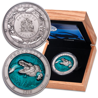 Image for 2019 Barbados 3 oz. Silver $5 Crocodile from Littleton Coin Company