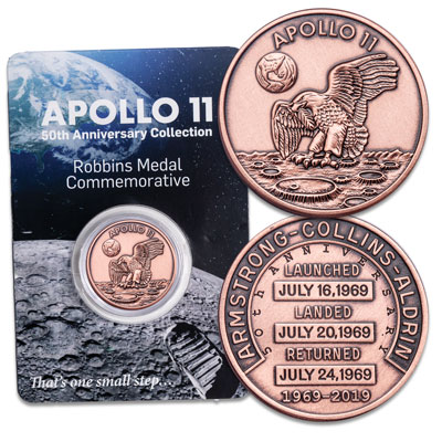 Image for Copper Apollo 11 Medal Replica from Littleton Coin Company