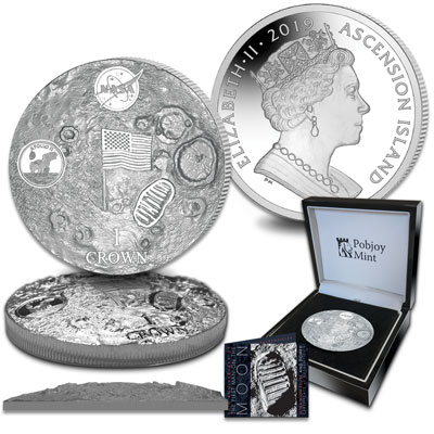 Image for 2019 Ascension Island 2 oz Silver 1 Crown NASA Apollo 11 from Littleton Coin Company
