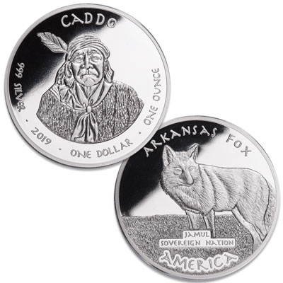 Image for 2019 Jamul Nation Arkansas Caddo Tribe & Fox Silver Dollar from Littleton Coin Company