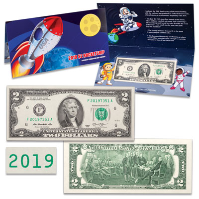 "Image for ""2019"" $2 Rocketship Note from Littleton Coin Company"