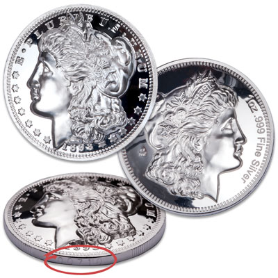 Image for 1 oz. Domed Silver Round - Morgan Dollar Design from Littleton Coin Company