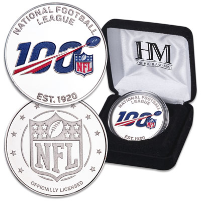Image for 2020 NFL 100th Anniversary Silver-Plated Copper Round from Littleton Coin Company