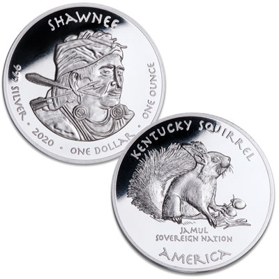Image for 2020 Jamul Nation Shawnee & Squirrel Silver Dollar from Littleton Coin Company