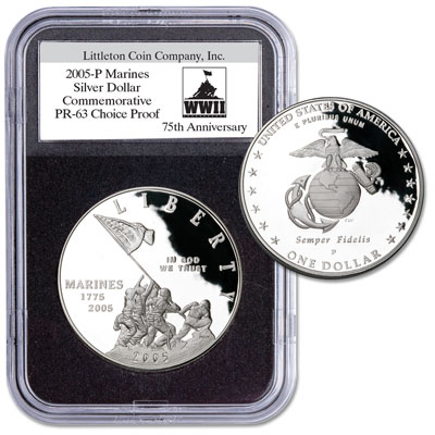Image for 2005-P Marines Silver Dollar with FREE Holder from Littleton Coin Company