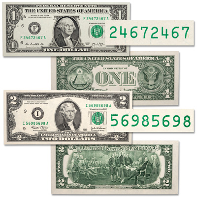 Image for Repeater $1 & $2 Federal Reserve Note Set from Littleton Coin Company