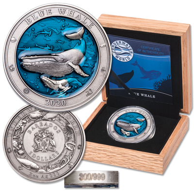 Image for 2020 Barbados 3 oz. Silver $5 Blue Whale from Littleton Coin Company