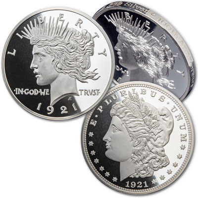 Image for Double-Headed 1921 Morgan & Peace Dollar 1 oz. Silver Round from Littleton Coin Company